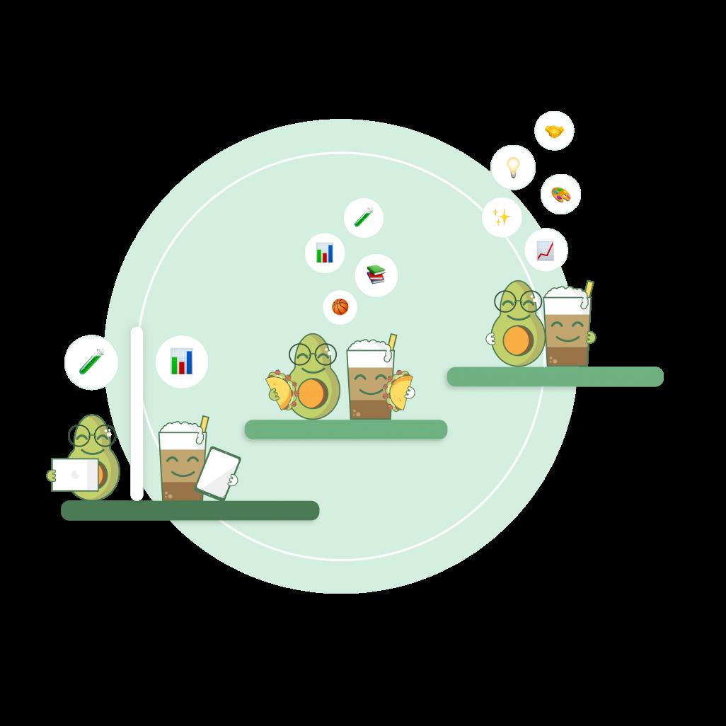 Kollegen werden durch die LuBu App zu LunchBuddies durch Austausch über virtuellen Kaffee oder Lunch